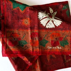 Oscar de la Renta scarf silk rectangular red